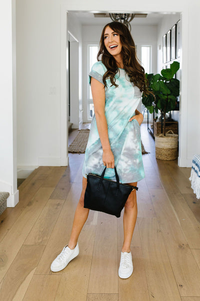 Tie Dyed Comfort T-Shirt Dress In Mint-[option4]-[option5]-[option6]-[option7]-[option8]-Womens-Clothing-Shop