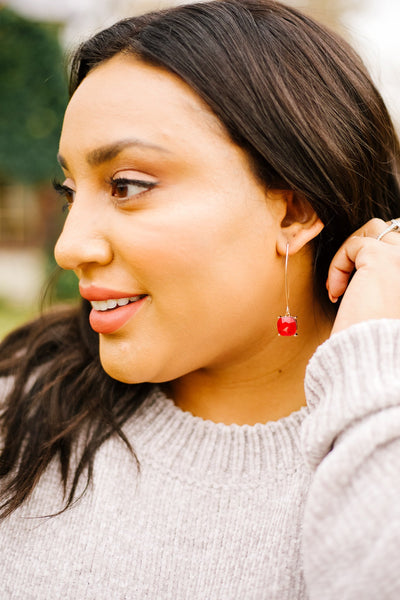 Crystal Drop Earrings In Ruby - 12/19/2019-[option4]-[option5]-[option6]-[option7]-[option8]-Womens-Clothing-Shop