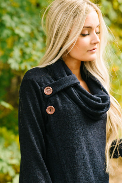 Cute As A Button Cowl Neck Sweater In Navy-[option4]-[option5]-[option6]-[option7]-[option8]-Womens-Clothing-Shop