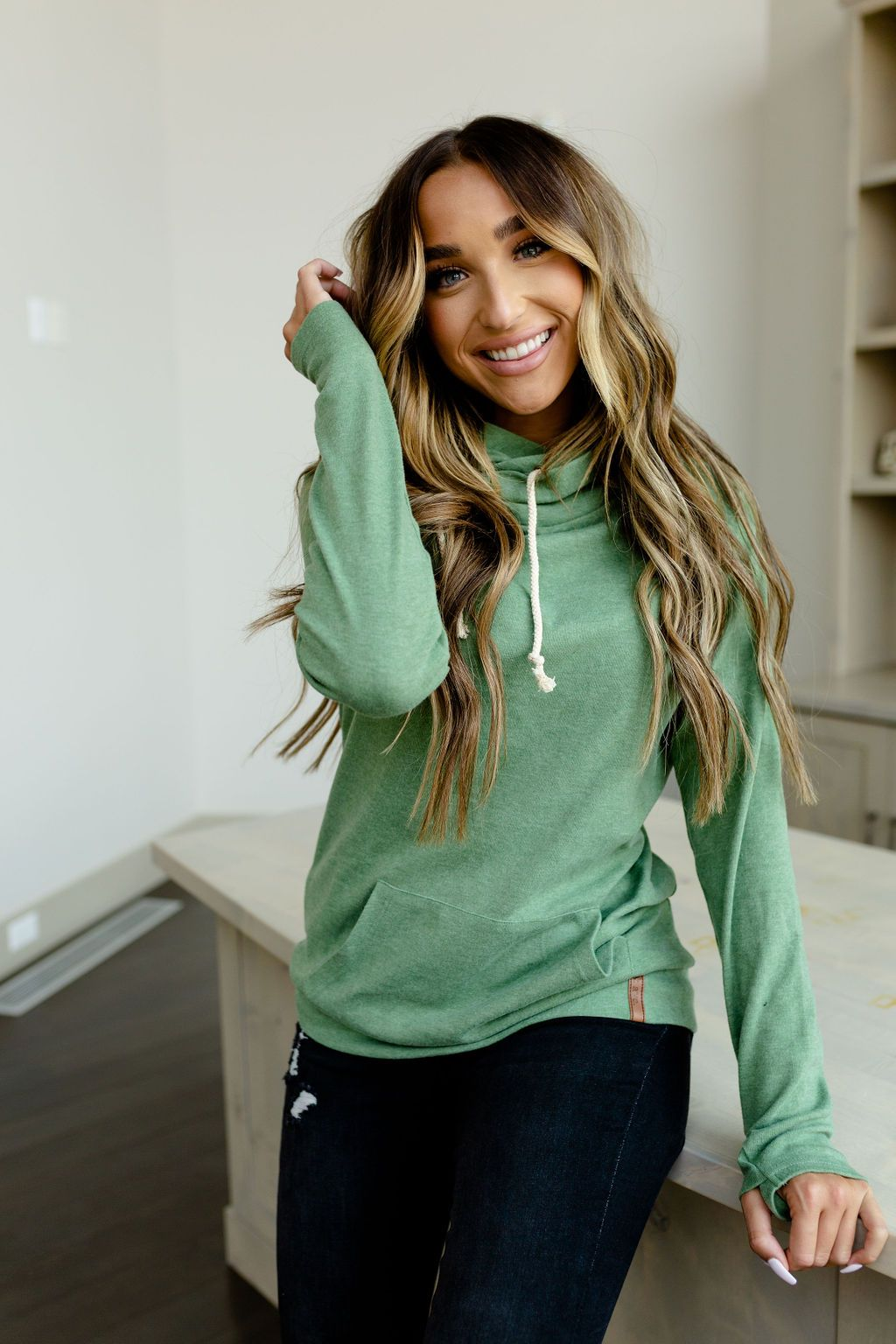 Basic Doublehood Sweatshirt - Emerald City-[option4]-[option5]-[option6]-[option7]-[option8]-Womens-Clothing-Shop
