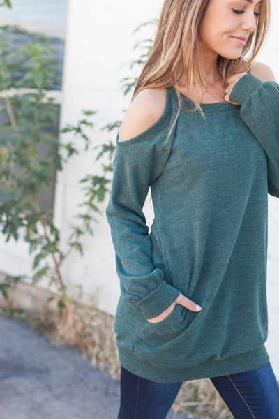 Dare To Bare Pocketed Top In Hunter Green-[option4]-[option5]-[option6]-[option7]-[option8]-Womens-Clothing-Shop