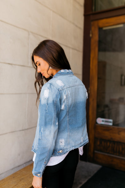 Don't Stress Distressed Denim Jacket-[option4]-[option5]-[option6]-[option7]-[option8]-Womens-Clothing-Shop
