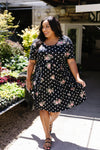 Dots & Roses Dress In Black-[option4]-[option5]-[option6]-[option7]-[option8]-Womens-Clothing-Shop