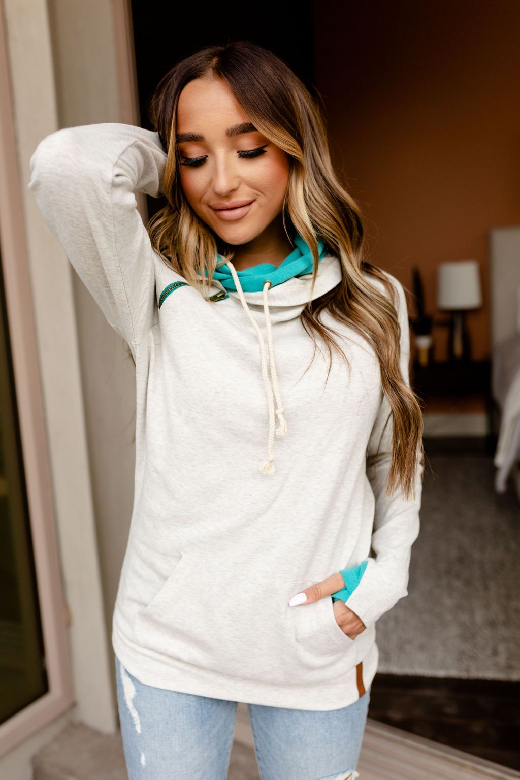 The Basic Doublehood Sweatshirt - Splash Of Teal-[option4]-[option5]-[option6]-[option7]-[option8]-Womens-Clothing-Shop