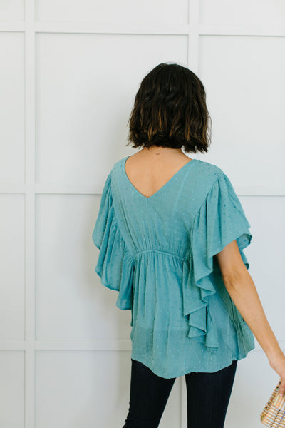 Fly Away Home Blouse In Dusty Teal-[option4]-[option5]-[option6]-[option7]-[option8]-Womens-Clothing-Shop