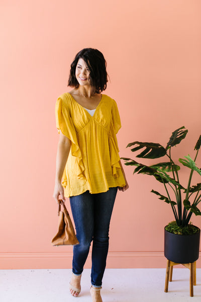 Fly Away Home Blouse In Honey-[option4]-[option5]-[option6]-[option7]-[option8]-Womens-Clothing-Shop