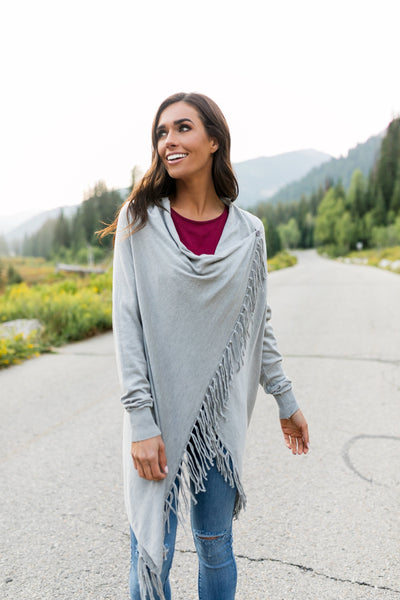 Fringe Benefits Cardigan In Gray-[option4]-[option5]-[option6]-[option7]-[option8]-Womens-Clothing-Shop