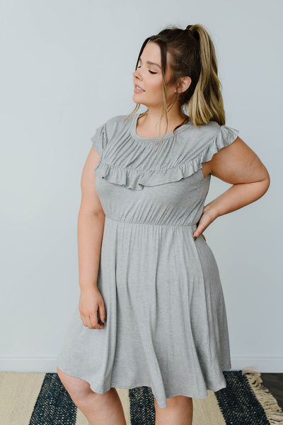 Gray Day Ruffled Yoke Dress-[option4]-[option5]-[option6]-[option7]-[option8]-Womens-Clothing-Shop