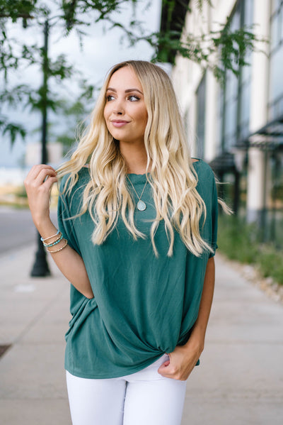 Green One Shoulder Knot Top-[option4]-[option5]-[option6]-[option7]-[option8]-Womens-Clothing-Shop