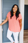 Heather Coral Pin-Tucked V-Neck Tee-[option4]-[option5]-[option6]-[option7]-[option8]-Womens-Clothing-Shop