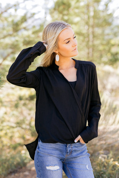 Hillary High Low Wrap Top In Black *Final Sale*-[option4]-[option5]-[option6]-[option7]-[option8]-Womens-Clothing-Shop
