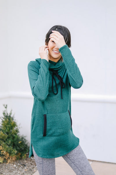 Hop To It Cowl Neck Tunic In Hunter Green-[option4]-[option5]-[option6]-[option7]-[option8]-Womens-Clothing-Shop