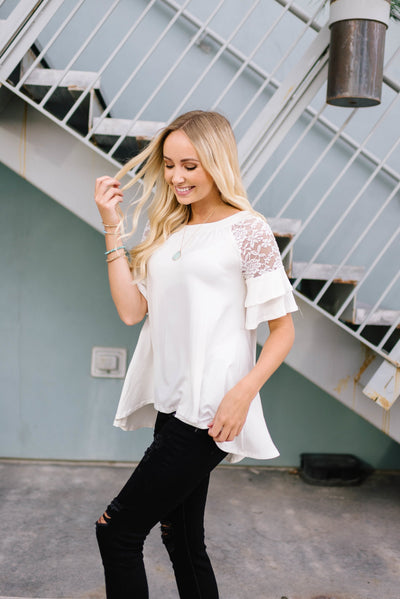 Ivory Lace Sleeve Top-[option4]-[option5]-[option6]-[option7]-[option8]-Womens-Clothing-Shop