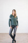 Janie Stripes Long Sleeve Tee in Hunter Green-[option4]-[option5]-[option6]-[option7]-[option8]-Womens-Clothing-Shop