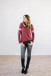 Janie Stripes Long Sleeve Tee in Red Brick-[option4]-[option5]-[option6]-[option7]-[option8]-Womens-Clothing-Shop