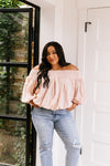 Just Add Sun Off Shoulder Top In Blush-[option4]-[option5]-[option6]-[option7]-[option8]-Womens-Clothing-Shop