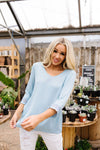 Just In Case Lace Trimmed Blouse In Blue-[option4]-[option5]-[option6]-[option7]-[option8]-Womens-Clothing-Shop