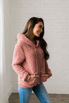 Kangaroo Pocket Shearling Hoodie In Mauve-[option4]-[option5]-[option6]-[option7]-[option8]-Womens-Clothing-Shop