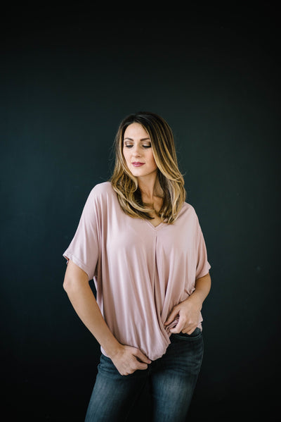 Knot Me V-Neck Tee in Rose-[option4]-[option5]-[option6]-[option7]-[option8]-Womens-Clothing-Shop