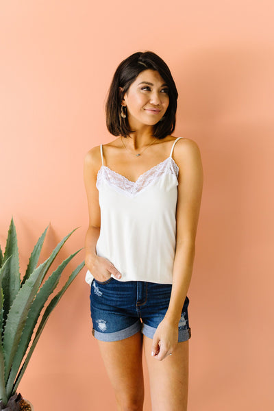 Lace Trimmed Knit Cami In Ivory-[option4]-[option5]-[option6]-[option7]-[option8]-Womens-Clothing-Shop