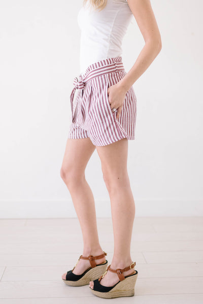 Lakeside Linen Shorts In Red-[option4]-[option5]-[option6]-[option7]-[option8]-Womens-Clothing-Shop