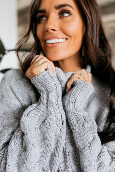 Left My Heart In San Francisco Cable Knit Sweater In Gray-[option4]-[option5]-[option6]-[option7]-[option8]-Womens-Clothing-Shop