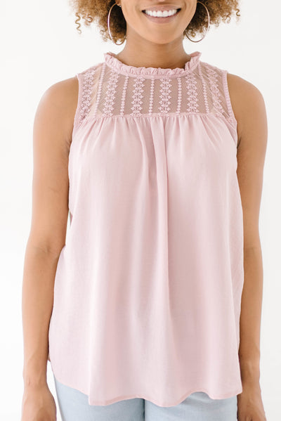Lexie Lace Top in Blush-[option4]-[option5]-[option6]-[option7]-[option8]-Womens-Clothing-Shop