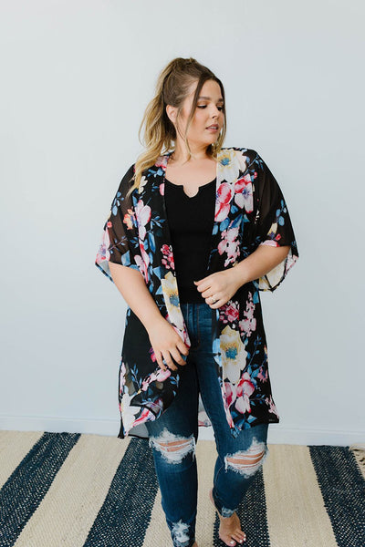 Lightweight Floral Kimono In Black-[option4]-[option5]-[option6]-[option7]-[option8]-Womens-Clothing-Shop