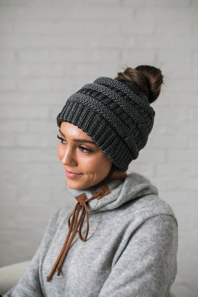 Messy Bun Metallic Beanie In Metallic Gray-One Size-[option4]-[option5]-[option6]-[option7]-[option8]-Womens-Clothing-Shop