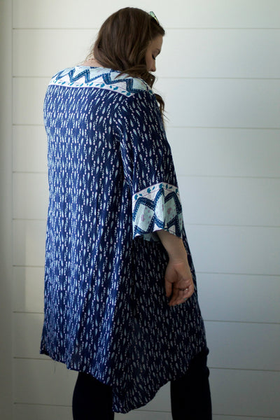 Navy Print Kimono-[option4]-[option5]-[option6]-[option7]-[option8]-Womens-Clothing-Shop