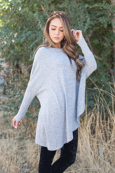 Off Balance On Trend Top In Heather Gray-[option4]-[option5]-[option6]-[option7]-[option8]-Womens-Clothing-Shop