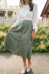 Olive Button Down Midi Skirt-[option4]-[option5]-[option6]-[option7]-[option8]-Womens-Clothing-Shop