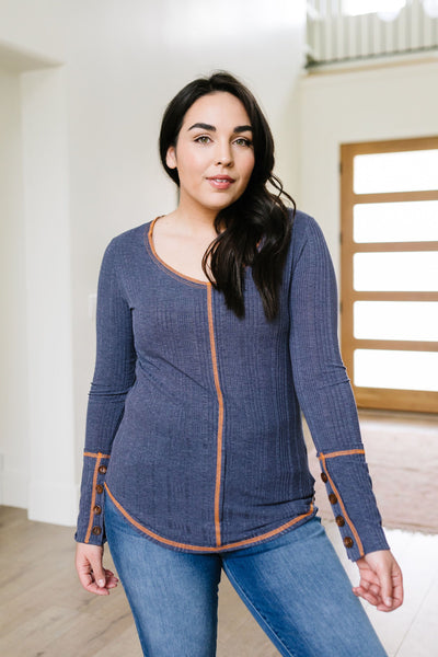 On The Edge Of Spring Top In Slate Blue-[option4]-[option5]-[option6]-[option7]-[option8]-Womens-Clothing-Shop