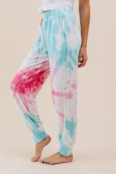Pink Sunburst Tie Dye Joggers-[option4]-[option5]-[option6]-[option7]-[option8]-Womens-Clothing-Shop