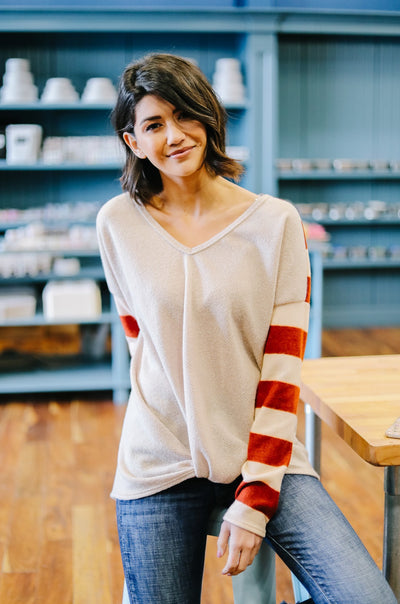 Plot Twist Top In Taupe-[option4]-[option5]-[option6]-[option7]-[option8]-Womens-Clothing-Shop