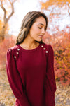 Puff Piece Sweater in Burgundy-[option4]-[option5]-[option6]-[option7]-[option8]-Womens-Clothing-Shop
