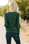 Puff Piece Sweater in Forest Green-[option4]-[option5]-[option6]-[option7]-[option8]-Womens-Clothing-Shop
