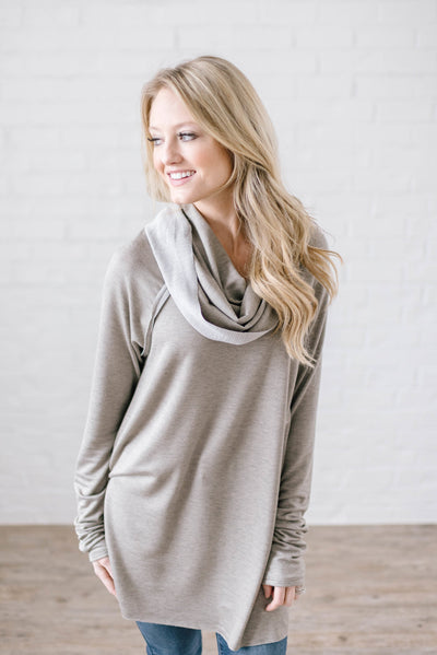 Rainy Day Cowl Neck Tunic in Taupe-[option4]-[option5]-[option6]-[option7]-[option8]-Womens-Clothing-Shop