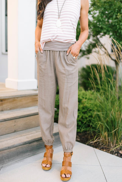 Relaxed Mocha Linen Pants-[option4]-[option5]-[option6]-[option7]-[option8]-Womens-Clothing-Shop
