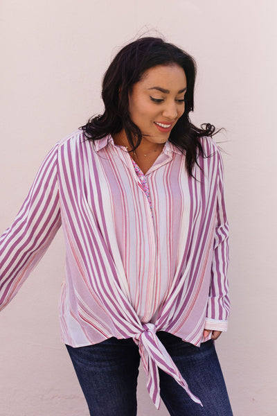 Risky Business Tie Front Blouse-[option4]-[option5]-[option6]-[option7]-[option8]-Womens-Clothing-Shop