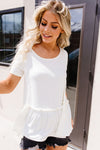 Ruffled Peplum Top In Cream-[option4]-[option5]-[option6]-[option7]-[option8]-Womens-Clothing-Shop