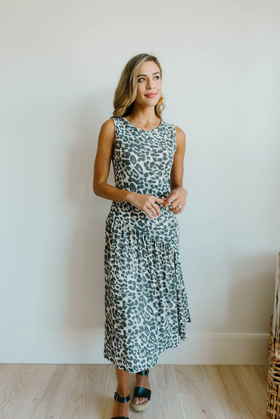 Sage Cheetah Dress-[option4]-[option5]-[option6]-[option7]-[option8]-Womens-Clothing-Shop