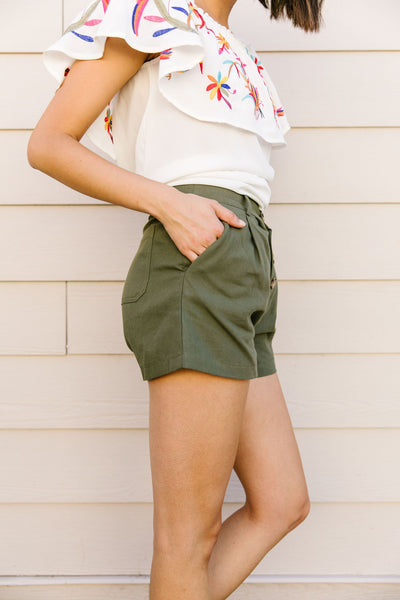 Shorts Sunny Side Up In Olive *Final Sale*-[option4]-[option5]-[option6]-[option7]-[option8]-Womens-Clothing-Shop