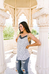 Spotted Contrast Camisole In Ivory-[option4]-[option5]-[option6]-[option7]-[option8]-Womens-Clothing-Shop