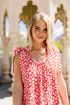 Spotted Rosette Dress In Red Coral-[option4]-[option5]-[option6]-[option7]-[option8]-Womens-Clothing-Shop