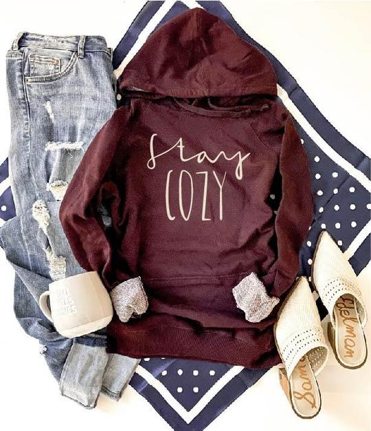 Stay Cozy French Terry Hoodie In Maroon-[option4]-[option5]-[option6]-[option7]-[option8]-Womens-Clothing-Shop