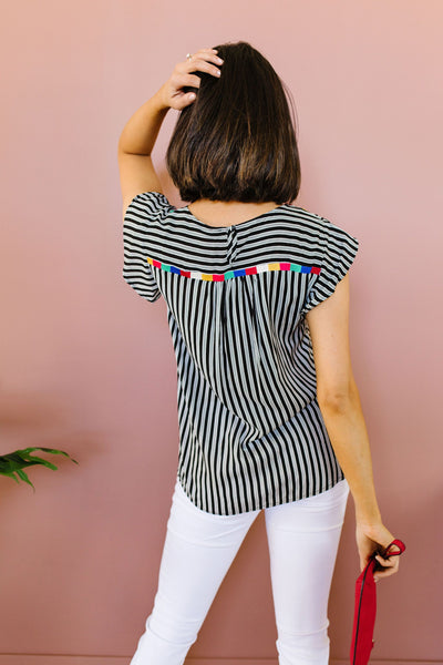 Striped Fiesta Blouse-[option4]-[option5]-[option6]-[option7]-[option8]-Womens-Clothing-Shop