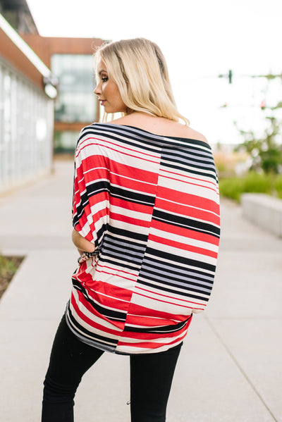Striped One Shoulder Knot Top-[option4]-[option5]-[option6]-[option7]-[option8]-Womens-Clothing-Shop