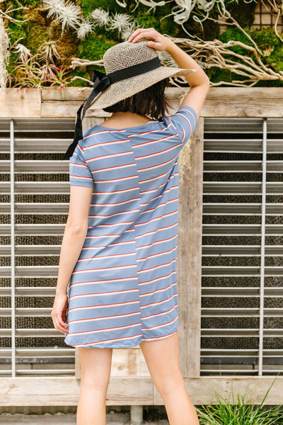 Stripes T-Shirt Dress In Blue-[option4]-[option5]-[option6]-[option7]-[option8]-Womens-Clothing-Shop