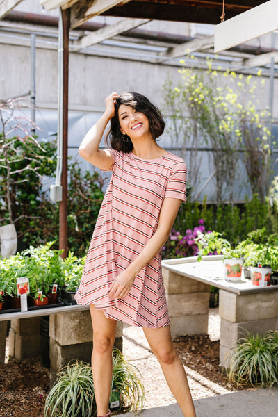 Stripes T-Shirt Dress In Rose-[option4]-[option5]-[option6]-[option7]-[option8]-Womens-Clothing-Shop